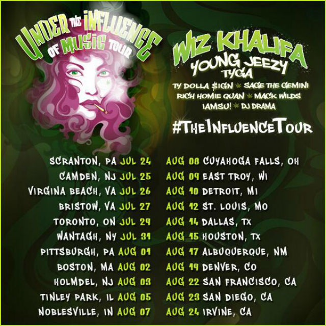 Under the Influence of Music tour dates 2014