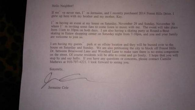 J Cole letter